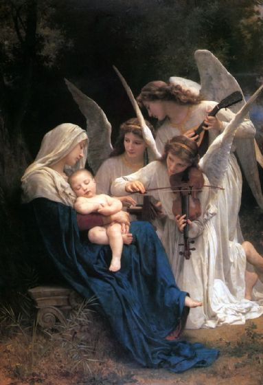 Bouguereau, William Adolphe: Song of the Angels. Fine Art Print/Poster. Sizes: A4/A3/A2/A1 (001731)